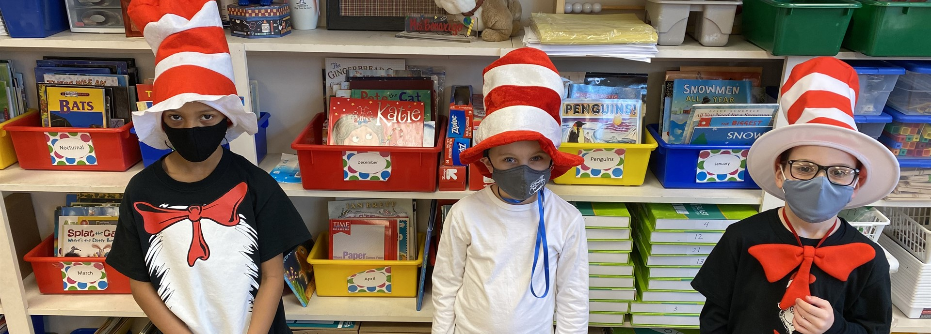 "Three First Grade Students dressed as ""The Cat In the Hat"""